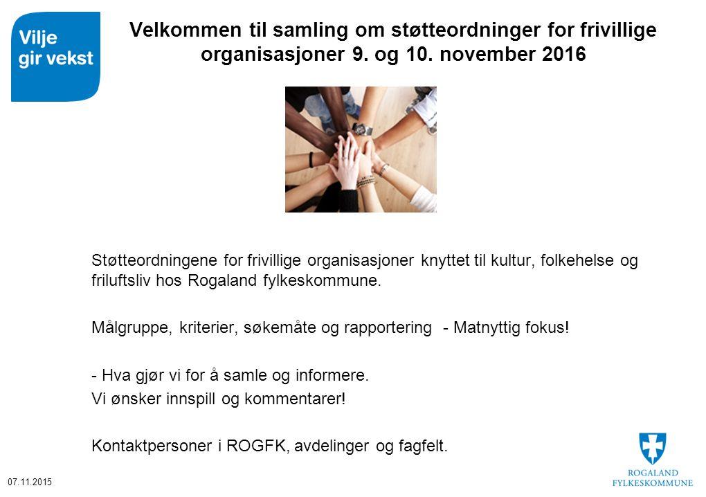 Velkommen til samling om støtteordninger for frivillige organisasjoner 9.