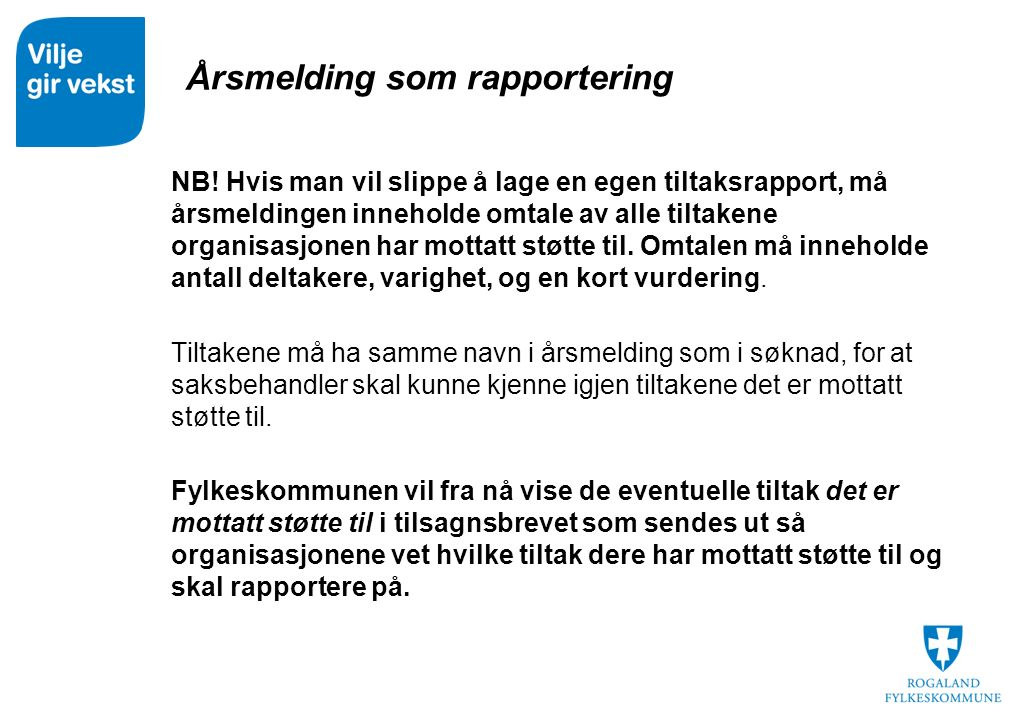 Årsmelding som rapportering NB.