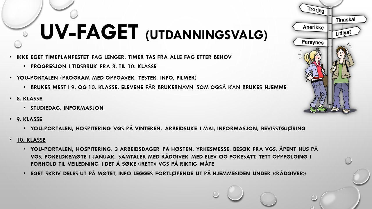 UV-FAGET (UTDANNINGSVALG) IKKE EGET TIMEPLANFESTET FAG LENGER, TIMER TAS FRA ALLE FAG ETTER BEHOV PROGRESJON I TIDSBRUK FRA 8.