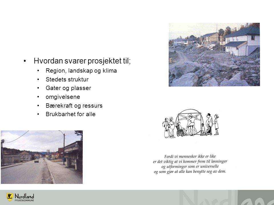 Hvordan svarer prosjektet til; Region, landskap og klima Stedets struktur Gater og plasser omgivelsene Bærekraft og ressurs Brukbarhet for alle