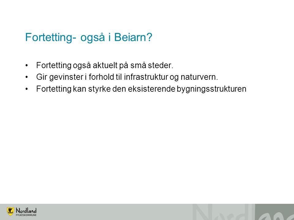 Fortetting- også i Beiarn.Fortetting også aktuelt på små steder.