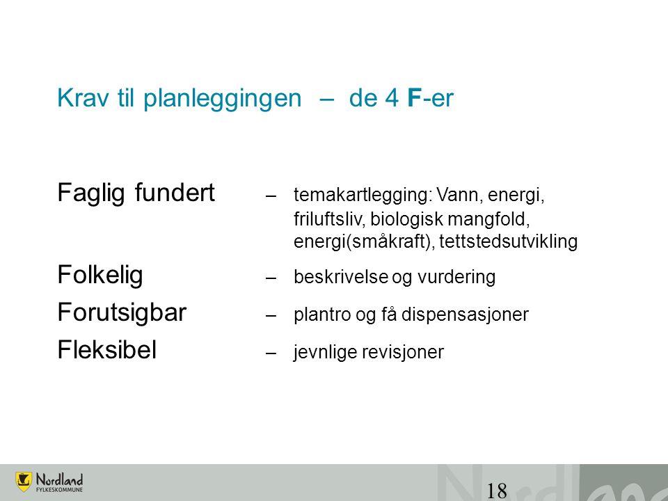 18 Krav til planleggingen – de 4 F-er Faglig fundert – temakartlegging: Vann, energi, friluftsliv, biologisk mangfold, energi(småkraft), tettstedsutvi