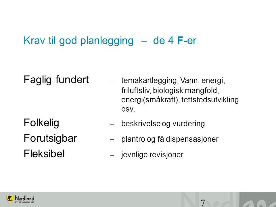 7 Krav til god planlegging – de 4 F-er Faglig fundert – temakartlegging: Vann, energi, friluftsliv, biologisk mangfold, energi(småkraft), tettstedsutvikling osv.