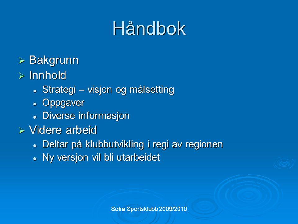Sotra Sportsklubb 2009/2010 Håndbok  Bakgrunn  Innhold Strategi – visjon og målsetting Strategi – visjon og målsetting Oppgaver Oppgaver Diverse inf