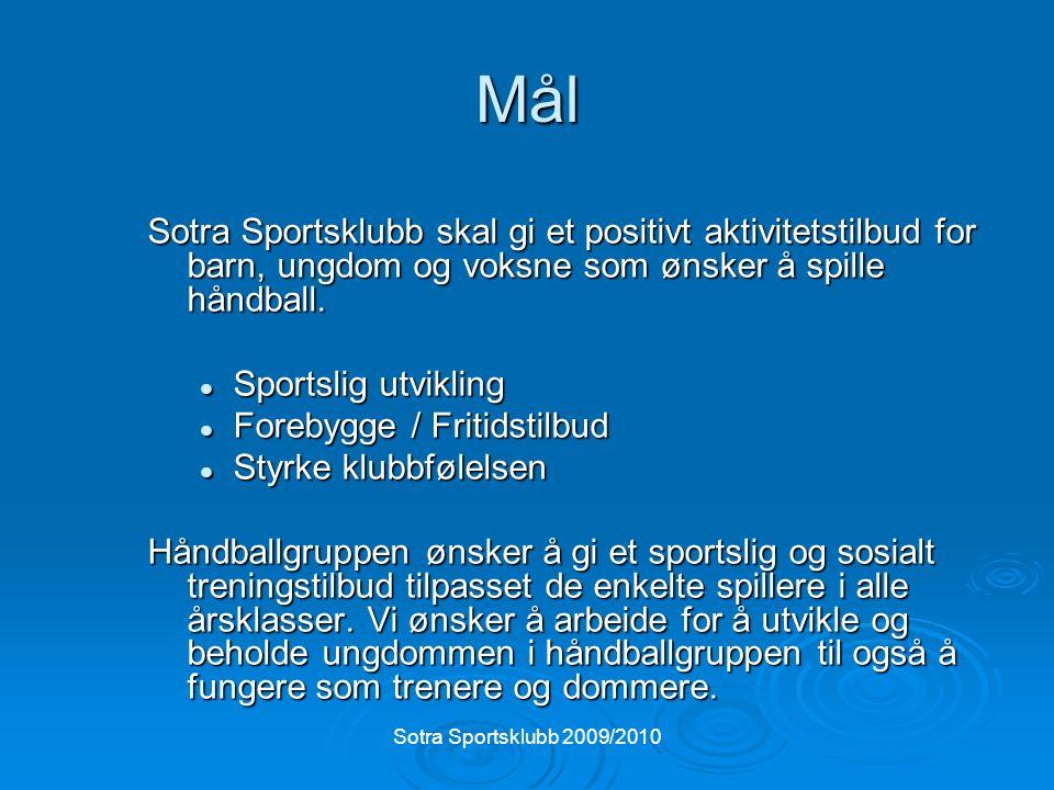 Sotra Sportsklubb 2009/2010 Mål Sotra Sportsklubb skal gi et positivt aktivitetstilbud for barn, ungdom og voksne som ønsker å spille håndball.