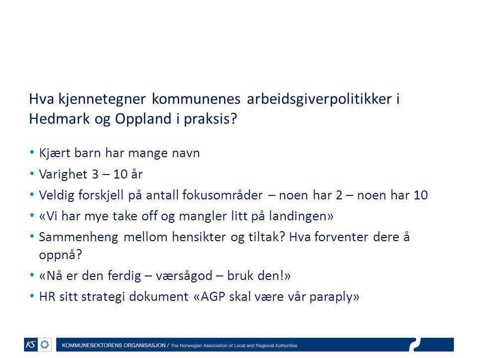 Hva kjennetegner kommunenes arbeidsgiverpolitikker i Hedmark og Oppland i praksis? Kjært barn har mange navn Varighet 3 – 10 år Veldig forskjell på an