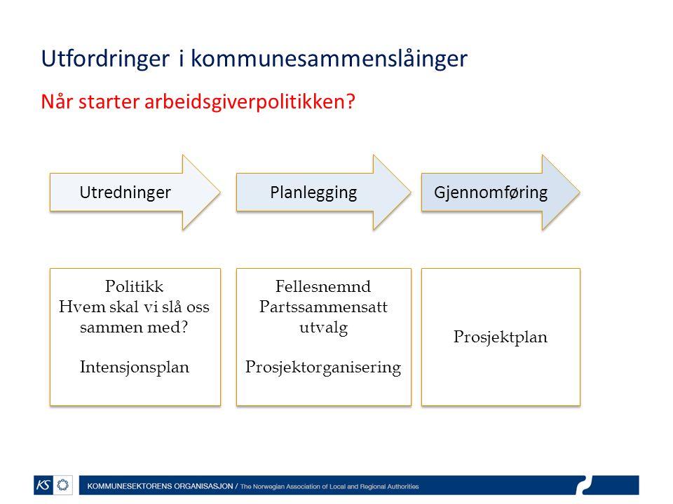 Utfordringer i kommunesammenslåinger Når starter arbeidsgiverpolitikken? Utredninger Planlegging Gjennomføring Politikk Hvem skal vi slå oss sammen me