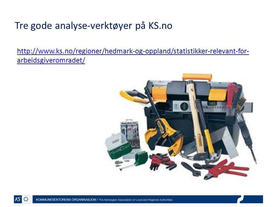 Tre gode analyse-verktøyer på KS.no http://www.ks.no/regioner/hedmark-og-oppland/statistikker-relevant-for- arbeidsgiveromradet/