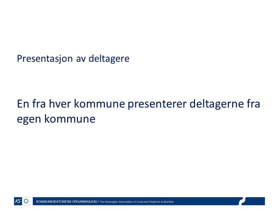 Presentasjon av deltagere En fra hver kommune presenterer deltagerne fra egen kommune
