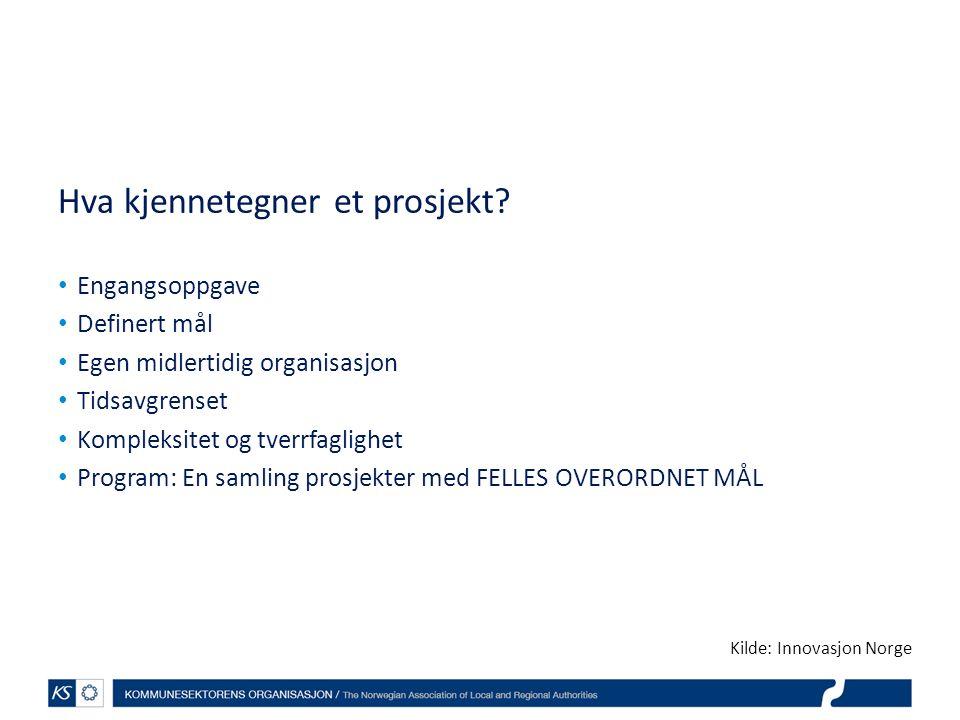 Hva kjennetegner et prosjekt? Engangsoppgave Definert mål Egen midlertidig organisasjon Tidsavgrenset Kompleksitet og tverrfaglighet Program: En samli
