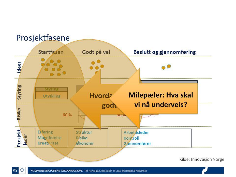 StartfasenGodt på veiBeslutt og gjennomføring Utvikling Styring Utvikling Styring Utvikling Styring Ideer Risiko 60 %90 % Prosjektfasene Prosjekt lede