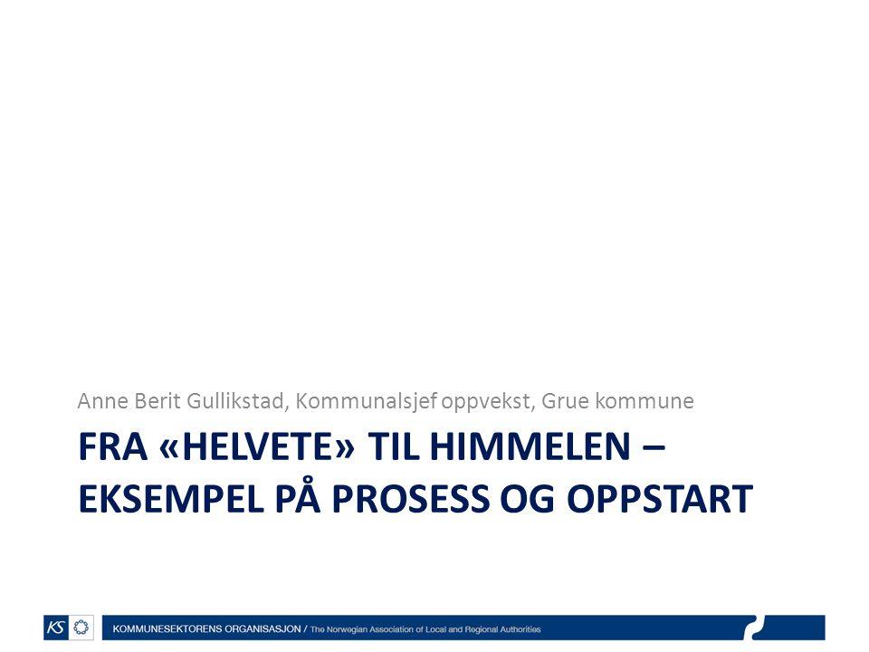 FRA «HELVETE» TIL HIMMELEN – EKSEMPEL PÅ PROSESS OG OPPSTART Anne Berit Gullikstad, Kommunalsjef oppvekst, Grue kommune