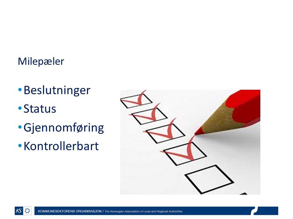 Milepæler Beslutninger Status Gjennomføring Kontrollerbart