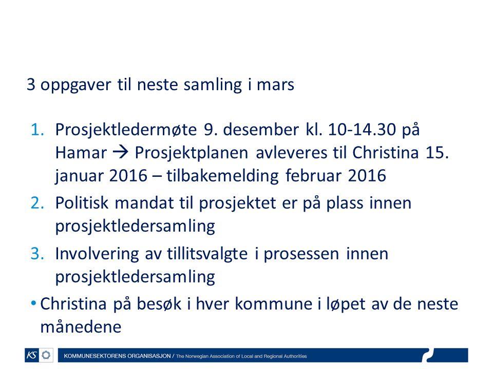 3 oppgaver til neste samling i mars 1.Prosjektledermøte 9. desember kl. 10-14.30 på Hamar  Prosjektplanen avleveres til Christina 15. januar 2016 – t