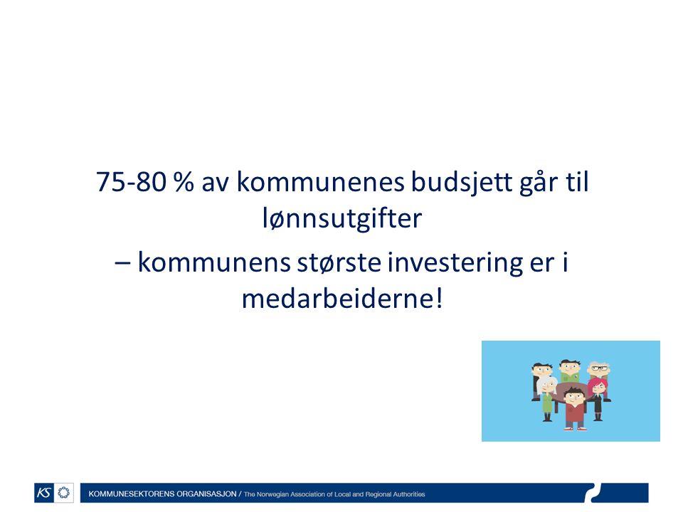 75-80 % av kommunenes budsjett går til lønnsutgifter – kommunens største investering er i medarbeiderne!