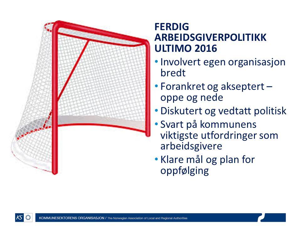 FERDIG ARBEIDSGIVERPOLITIKK ULTIMO 2016 Involvert egen organisasjon bredt Forankret og akseptert – oppe og nede Diskutert og vedtatt politisk Svart på