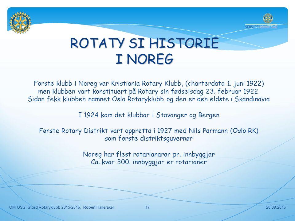 ROTATY SI HISTORIE I NOREG Første klubb i Noreg var Kristiania Rotary Klubb, (charterdato 1.
