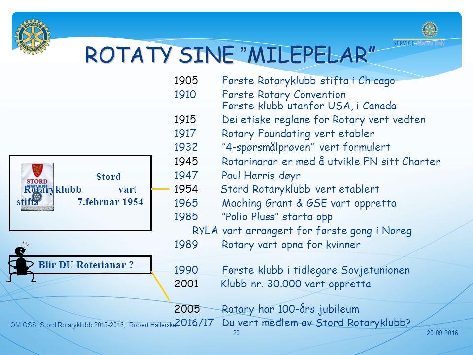 ROTATY SINE MILEPELAR Stord Rotaryklubb vart stifta 7.februar 1954 Blir DU Roterianar .