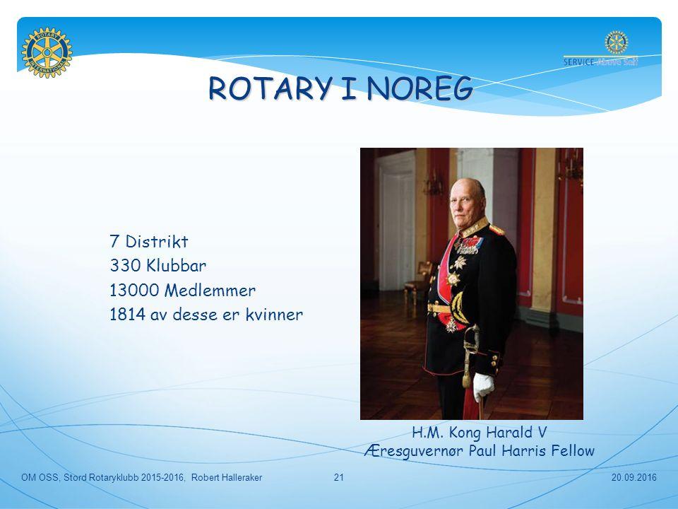 ROTARY I NOREG 7 Distrikt 330 Klubbar 13000 Medlemmer 1814 av desse er kvinner H.M.