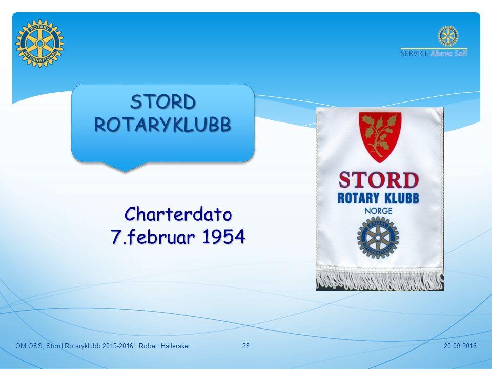 20.09.201628 Charterdato 7.februar 1954 OM OSS, Stord Rotaryklubb 2015-2016, Robert Halleraker STORDROTARYKLUBBSTORDROTARYKLUBB