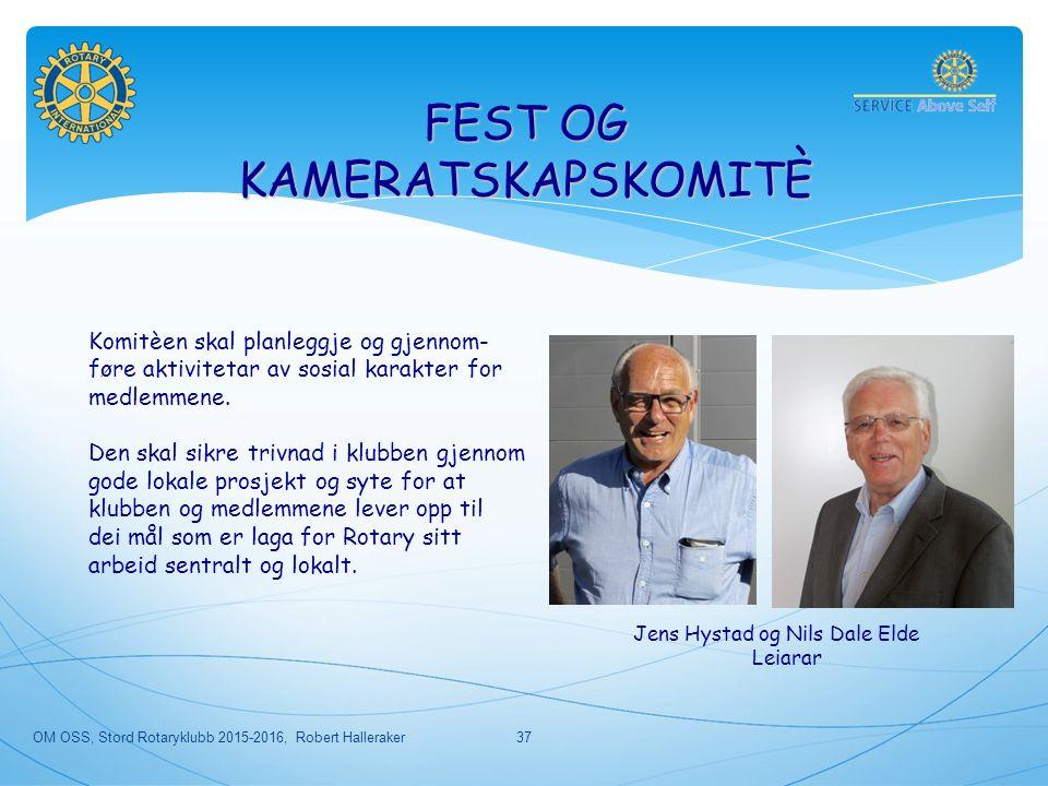 OM OSS, Stord Rotaryklubb 2015-2016, Robert Halleraker37 FEST OG KAMERATSKAPSKOMITÈ Komitèen skal planleggje og gjennom- føre aktivitetar av sosial karakter for medlemmene.