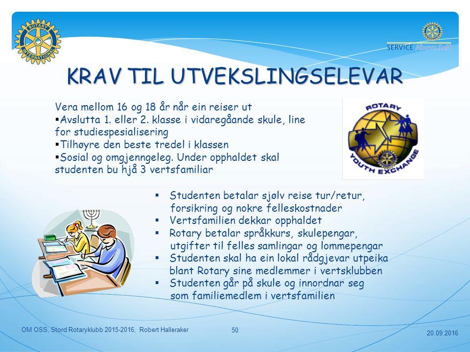 KRAV TIL UTVEKSLINGSELEVAR Vera mellom 16 og 18 år når ein reiser ut  Avslutta 1.
