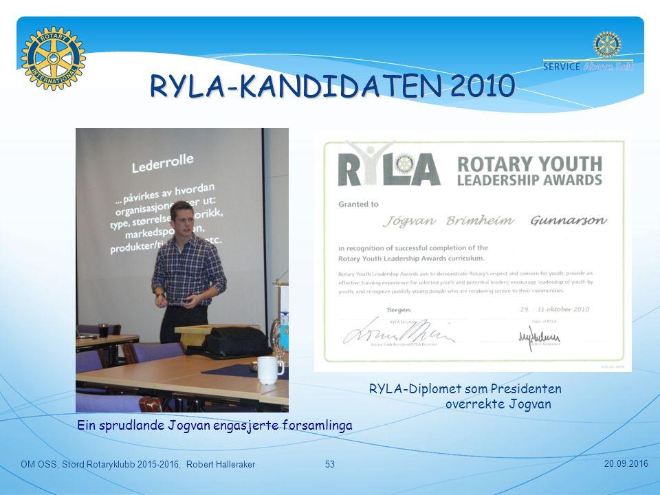 RYLA-KANDIDATEN 2010 RYLA-Diplomet som Presidenten overrekte Jogvan Ein sprudlande Jogvan engasjerte forsamlinga 20.09.2016 OM OSS, Stord Rotaryklubb 2015-2016, Robert Halleraker53