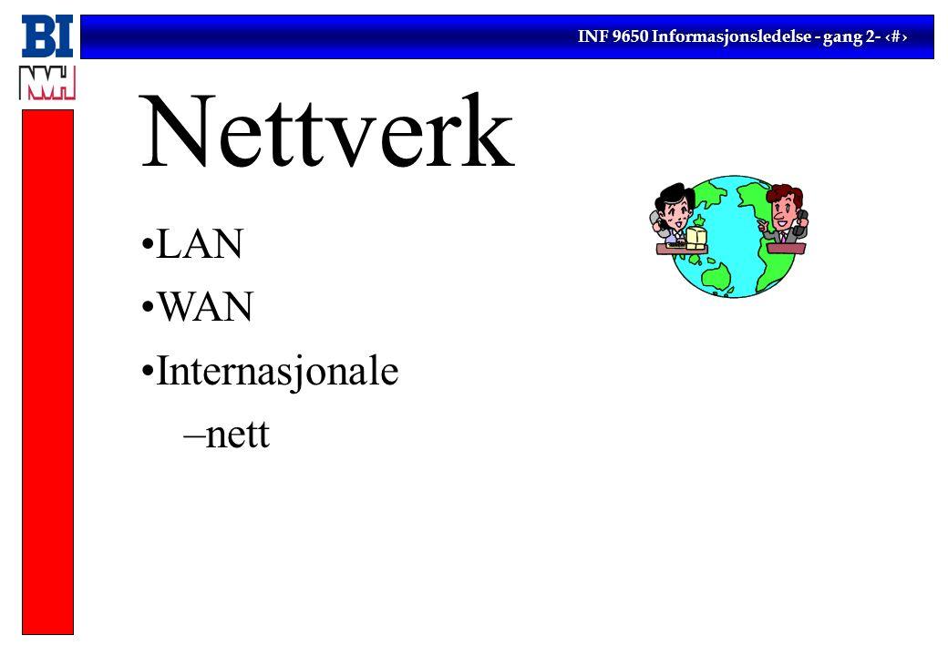 INF 9650 Informasjonsledelse - gang 2- 10 Nettverk LAN WAN Internasjonale –nett