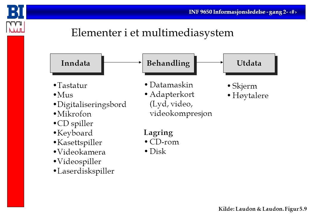 INF 9650 Informasjonsledelse - gang 2- 8 Ulike typer av programvare (eksempler) Systemprogramvare Operativsystem (MS DOS, Windows NT, OS/2) Grensesnitt (Windows 3.1) Driverrutiner (for skrivere, etc.) Database (Access) Applikasjoner (Ordre/Faktura) Verktøy (Word, Netscape) Programspråk (BASIC, C)