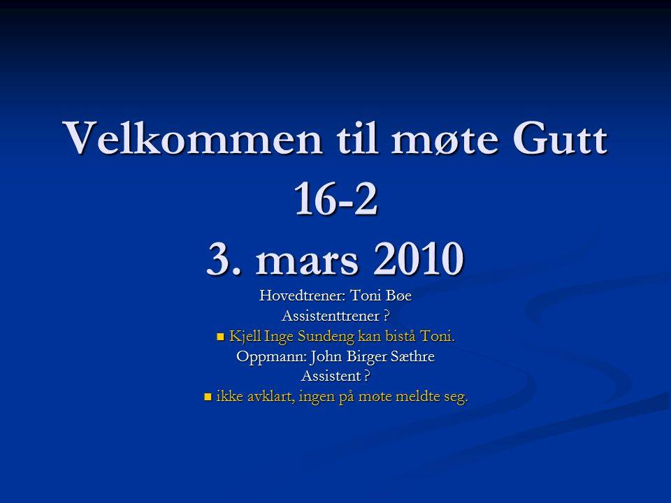 Velkommen til møte Gutt 16-2 3. mars 2010 Hovedtrener: Toni Bøe Assistenttrener .