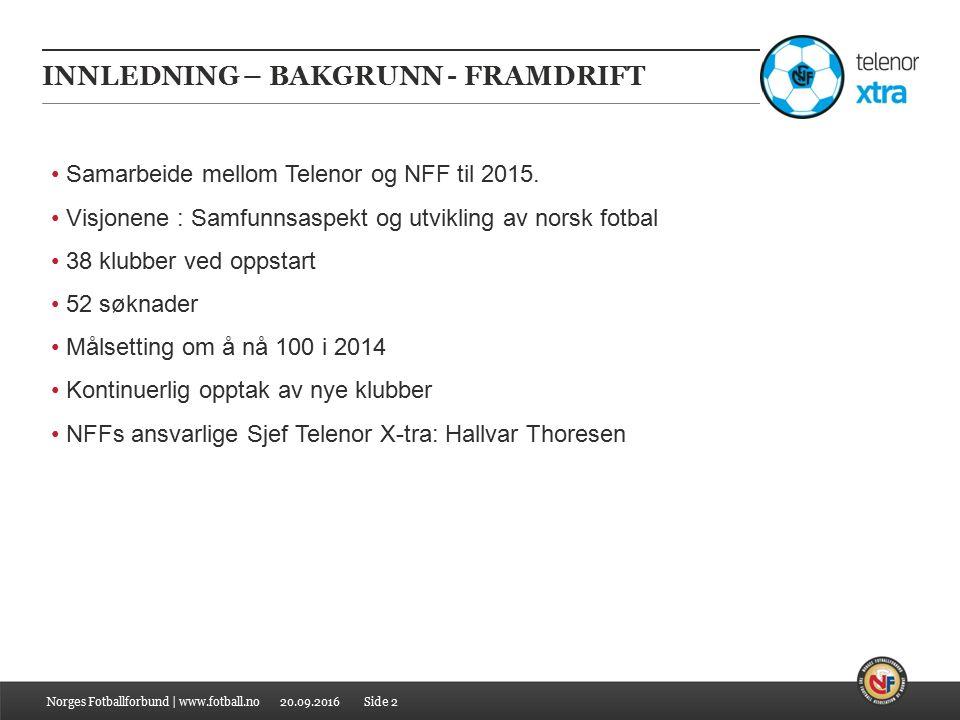 20.09.2016 INNLEDNING – BAKGRUNN - FRAMDRIFT Norges Fotballforbund | www.fotball.no Samarbeide mellom Telenor og NFF til 2015.