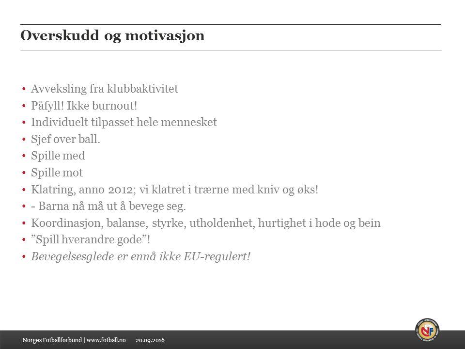 20.09.2016 Overskudd og motivasjon Avveksling fra klubbaktivitet Påfyll.