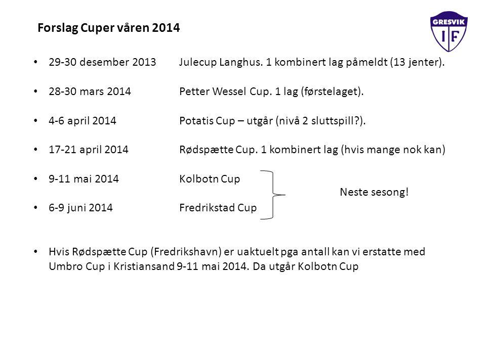 Forslag Cuper våren 2014 29-30 desember 2013Julecup Langhus. 1 kombinert lag påmeldt (13 jenter). 28-30 mars 2014Petter Wessel Cup. 1 lag (førstelaget