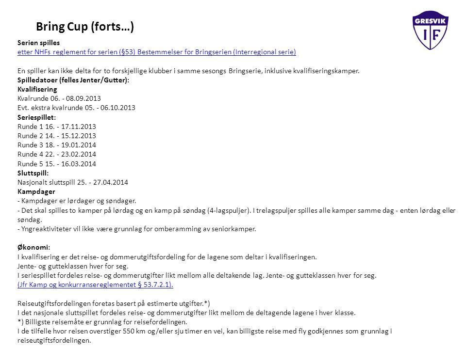 Bring Cup (forts…) Serien spilles etter NHFs reglement for serien (§53) Bestemmelser for Bringserien (Interregional serie) En spiller kan ikke delta for to forskjellige klubber i samme sesongs Bringserie, inklusive kvalifiseringskamper.