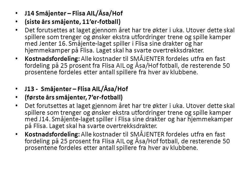 J14 Småjenter – Flisa AIL/Åsa/Hof (siste års småjente, 11'er-fotball) Det forutsettes at laget gjennom året har tre økter i uka.