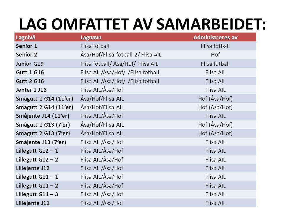 FORUTSETNINGER FOR SAMARBEID: Sportslig: Samarbeidslagene for G/J11, G/J12, G/J13, G/J14 og G/J16 skal følge Norges fotballforbunds retningslinjer for utviklingsarbeid, og drives med forankring i de sportslige planene til Flisa AIL og Åsa/Hof IL.