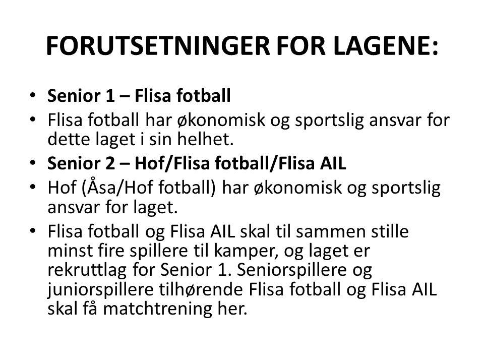FORUTSETNINGER FOR LAGENE: Senior 1 – Flisa fotball Flisa fotball har økonomisk og sportslig ansvar for dette laget i sin helhet.