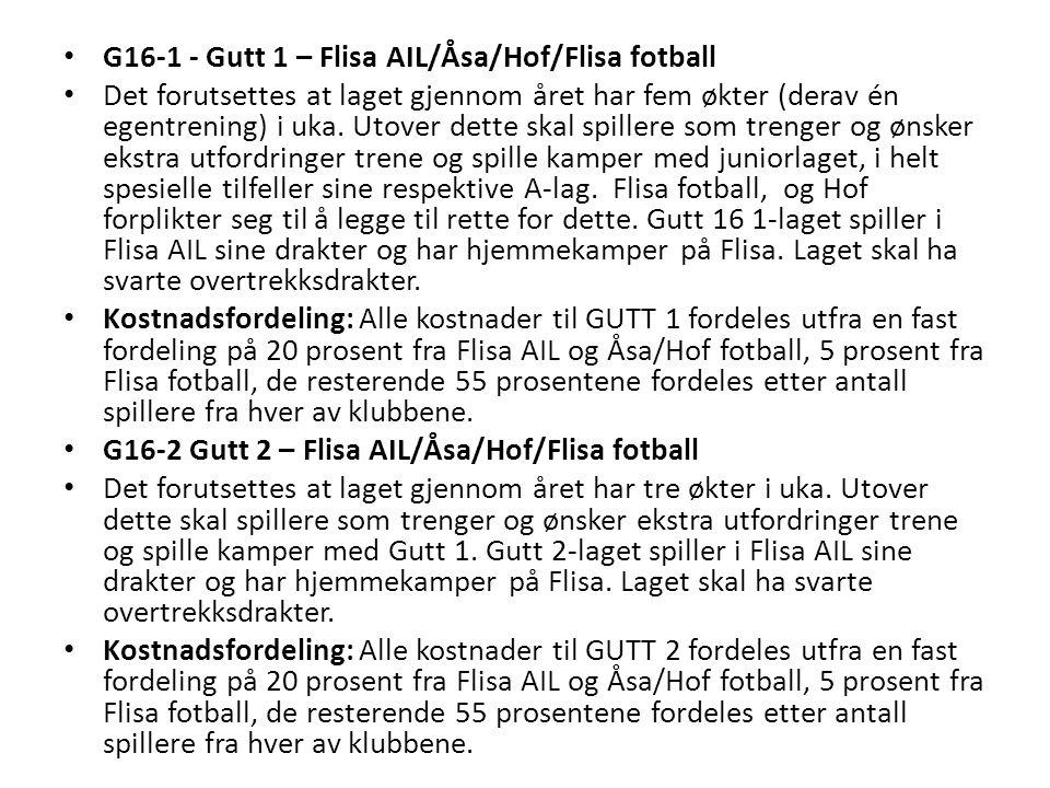 G14 Smågutt 1 – Åsa/Hof/Flisa AIL (siste års smågutt, 11'er-fotball) Det forutsettes at laget gjennom året har fem økter (derav én egentrening) i uka.