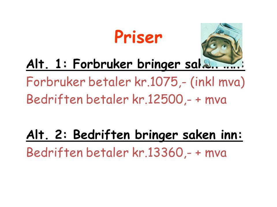 Priser Alt. 1: Forbruker bringer saken inn: Forbruker betaler kr.1075,- (inkl mva) Bedriften betaler kr.12500,- + mva Alt. 2: Bedriften bringer saken
