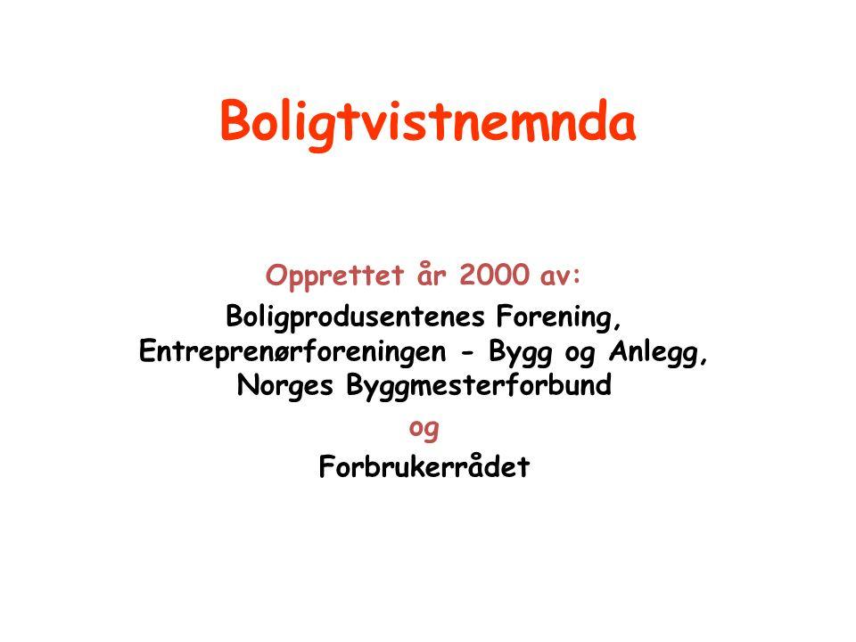Boligtvistnemnda Opprettet år 2000 av: Boligprodusentenes Forening, Entreprenørforeningen - Bygg og Anlegg, Norges Byggmesterforbund og Forbrukerrådet