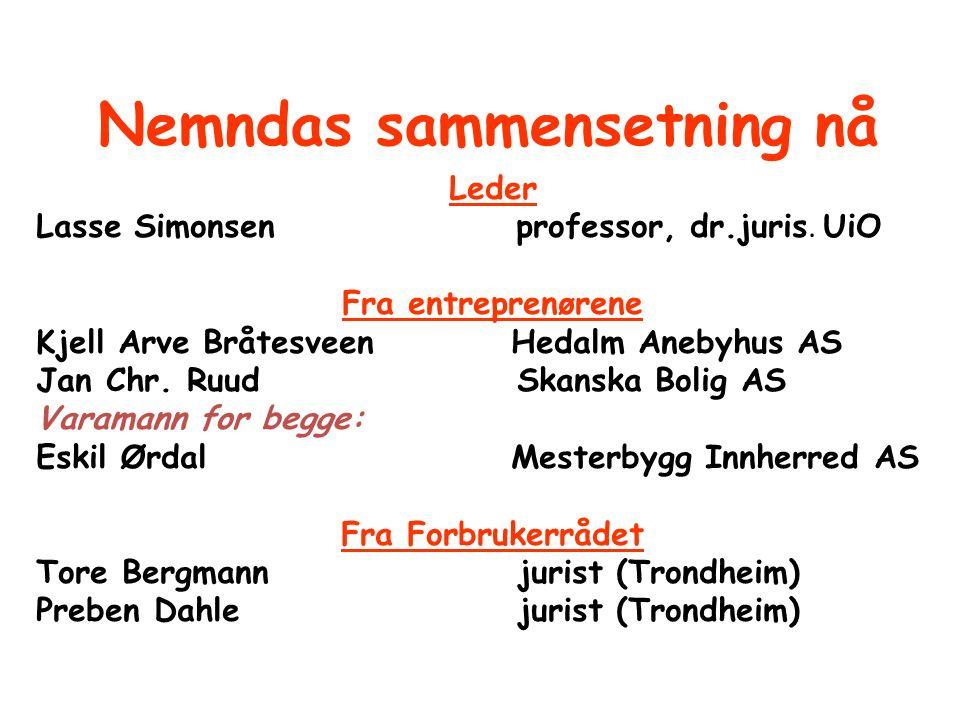 Nemndas sammensetning nå Leder Lasse Simonsenprofessor, dr.juris. UiO Fra entreprenørene Kjell Arve Bråtesveen Hedalm Anebyhus AS Jan Chr. Ruud Skansk
