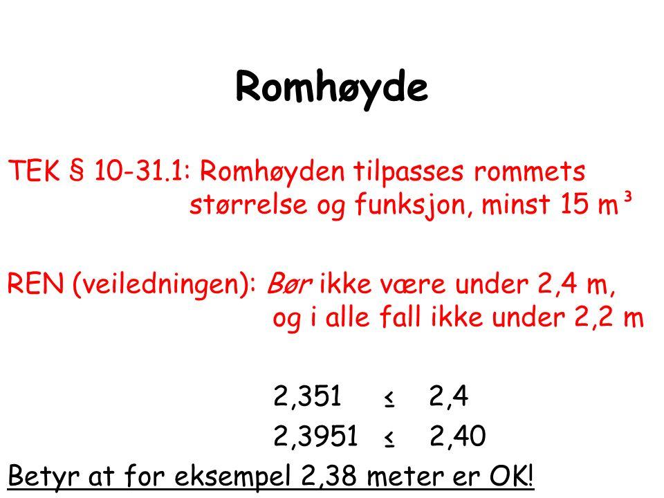 Romhøyde TEK § 10-31.1: Romhøyden tilpasses rommets størrelse og funksjon, minst 15 m³ REN (veiledningen): Bør ikke være under 2,4 m, og i alle fall i