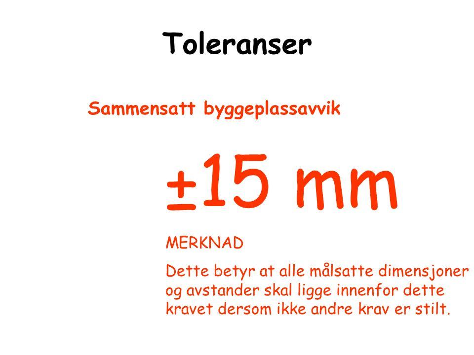 Toleranser ±15 mm MERKNAD Dette betyr at alle målsatte dimensjoner og avstander skal ligge innenfor dette kravet dersom ikke andre krav er stilt. Samm