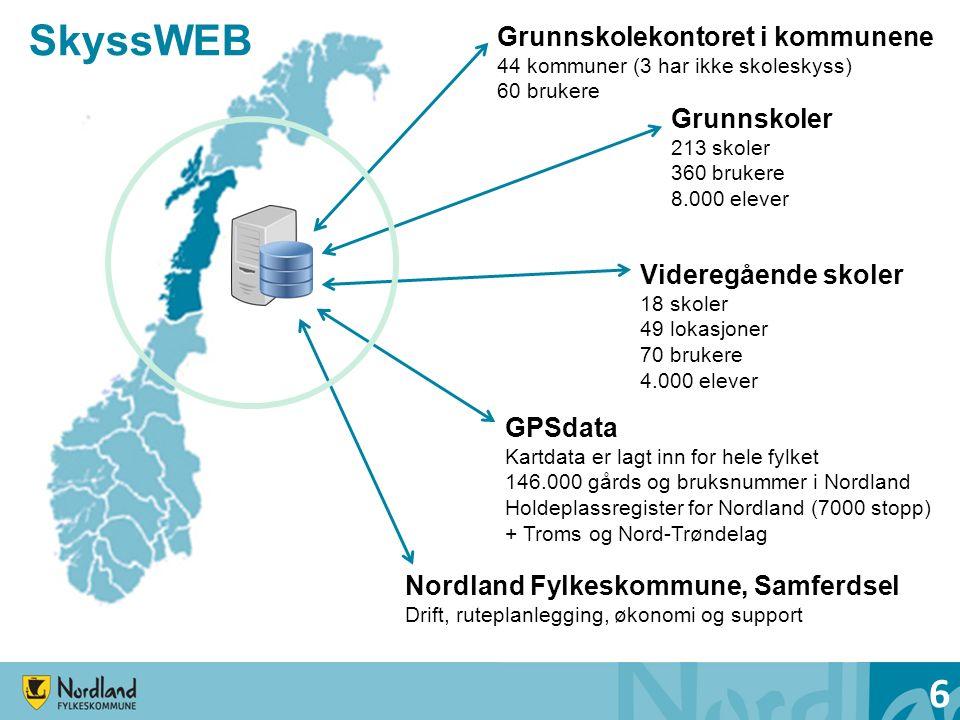 SkyssWEB 6 Grunnskoler 213 skoler 360 brukere 8.000 elever Grunnskolekontoret i kommunene 44 kommuner (3 har ikke skoleskyss) 60 brukere Videregående