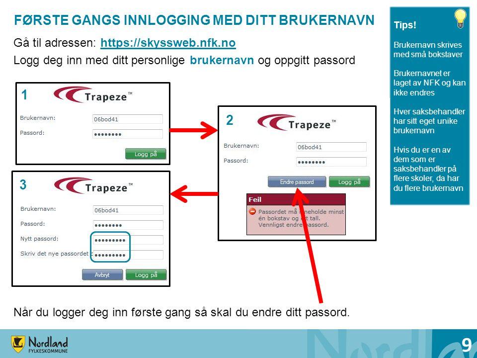 FØRSTE GANGS INNLOGGING MED DITT BRUKERNAVN Gå til adressen: https://skyssweb.nfk.nohttps://skyssweb.nfk.no Logg deg inn med ditt personlige brukernav
