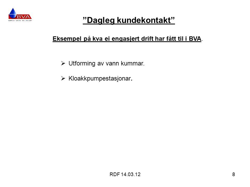 Dagleg kundekontakt RDF 14.03.128 Eksempel på kva ei engasjert drift har fått til i BVA.