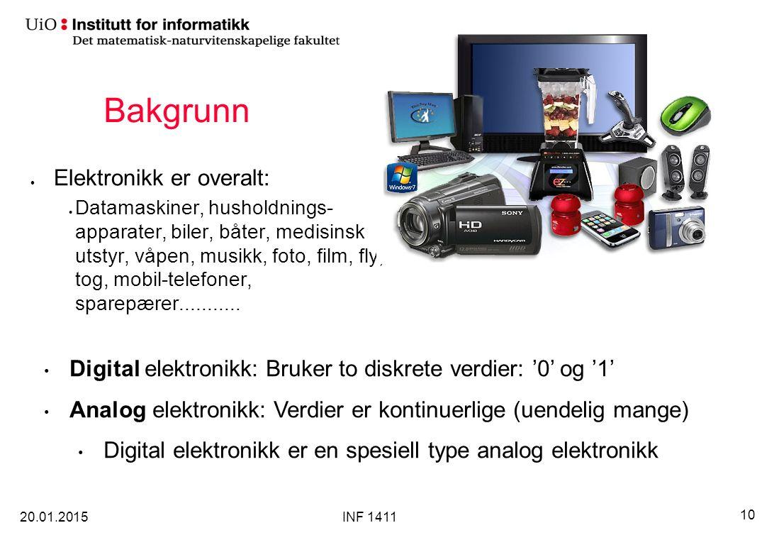 Bakgrunn Elektronikk er overalt: Datamaskiner, husholdnings- apparater, biler, båter, medisinsk utstyr, våpen, musikk, foto, film, fly, tog, mobil-telefoner, sparepærer...........