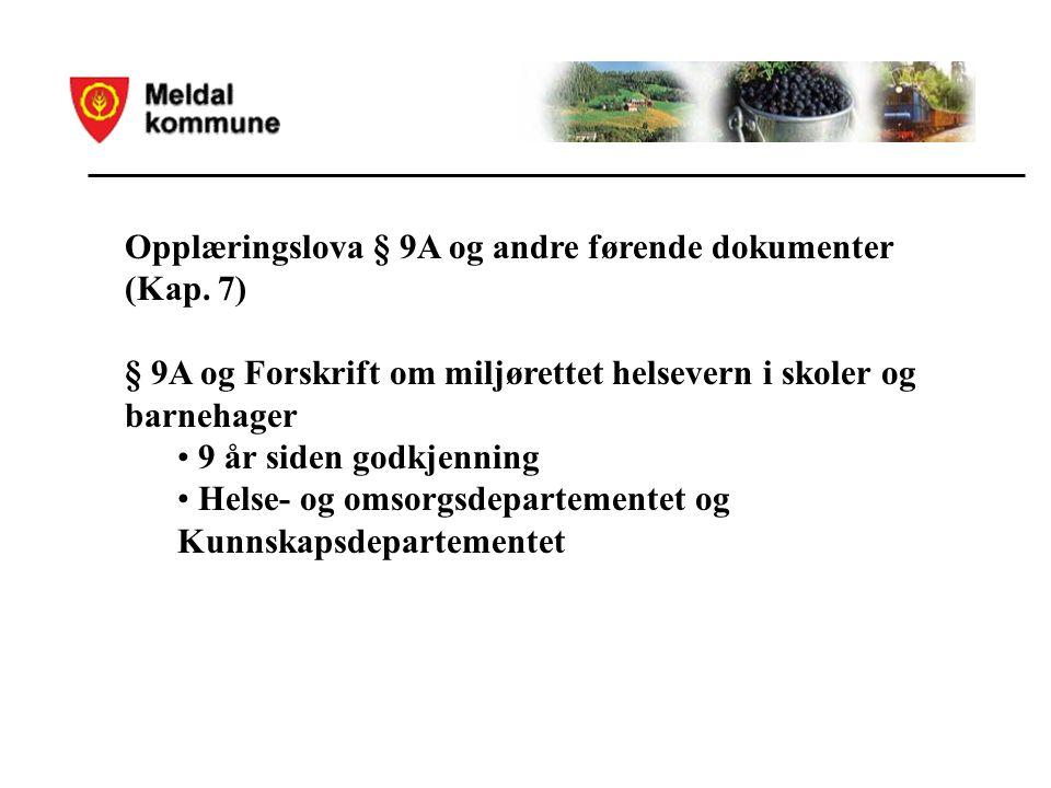 Opplæringslova § 9A og andre førende dokumenter (Kap.