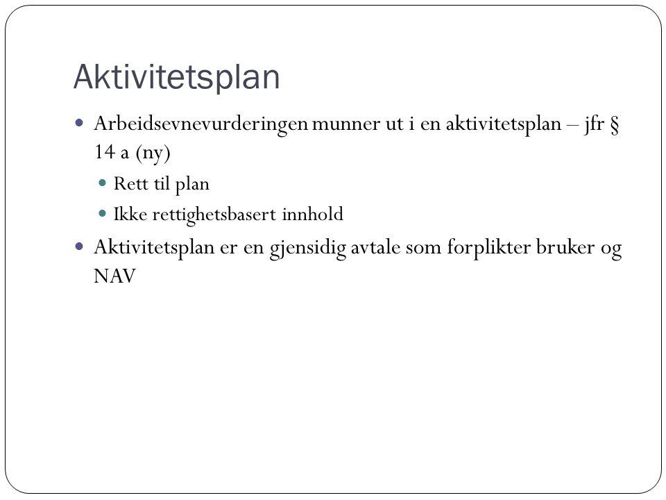 Aktivitetsplan Arbeidsevnevurderingen munner ut i en aktivitetsplan – jfr § 14 a (ny) Rett til plan Ikke rettighetsbasert innhold Aktivitetsplan er en gjensidig avtale som forplikter bruker og NAV
