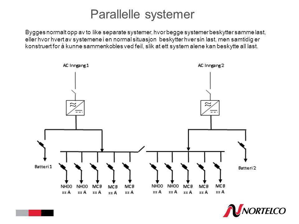 Parallelle systemer Bygges normalt opp av to like separate systemer, hvor begge systemer beskytter samme last, eller hvor hvert av systemene i en normal situasjon beskytter hver sin last, men samtidig er konstruert for å kunne sammenkobles ved feil, slik at ett system alene kan beskytte all last.